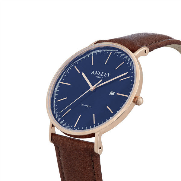 Ansley Men's Rose Gold & Navy Dial Watch with Chocolate Brown Leather Strap