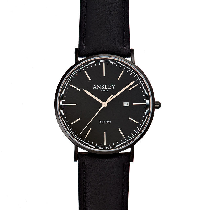 Ansley Men's Black Watch with Black Leather Strap Watch