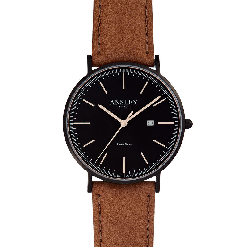 Ansley Men's Black Watch with Tan Leather Strap Watch