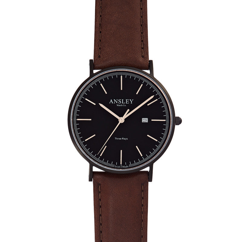 Ansley Men's Black Watch with Chocolate Brown Leather Strap Watch