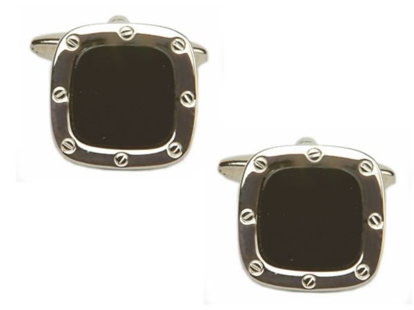 Men's Classic Black Stone Cuff links