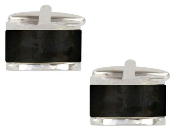 Men's Classic Black Square Stone Cuff links