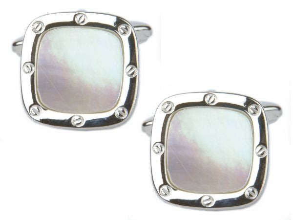 Men's Classic White Stone Cuff links