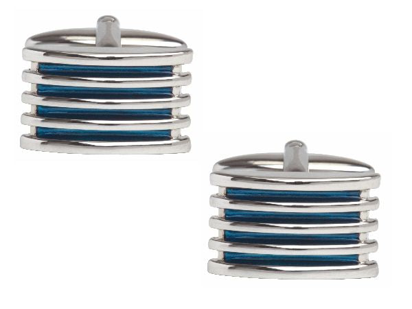 Men's Blue 4-Rib Enamel Cuff links