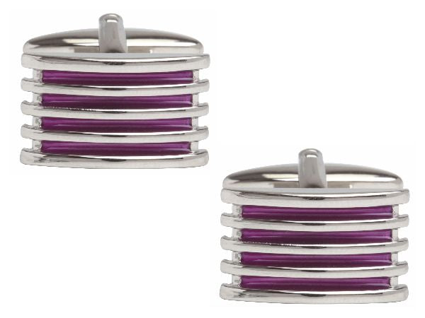 Men's Purple 4-Rib Enamel Cuff links