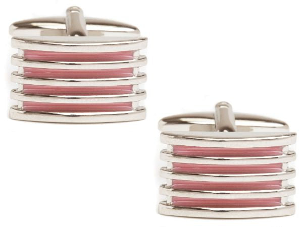 Men's Pink 4-Rib Enamel Cuff links