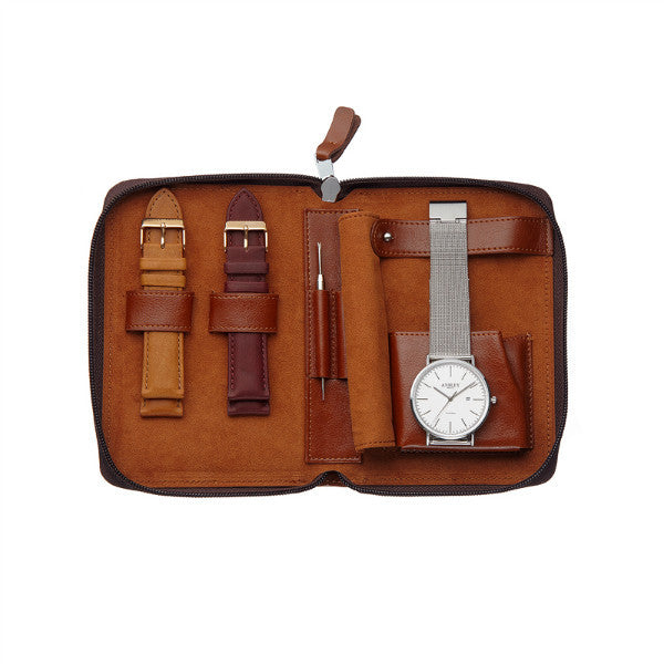 Ansley Men's Silver Case Watch with Chocolate Brown Leather Strap