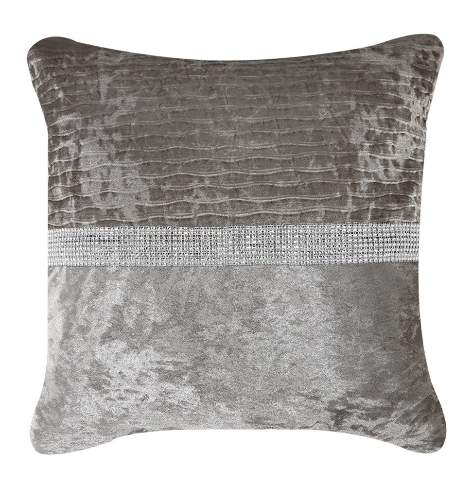 Champagne Velvet and Diamond Striped cushion