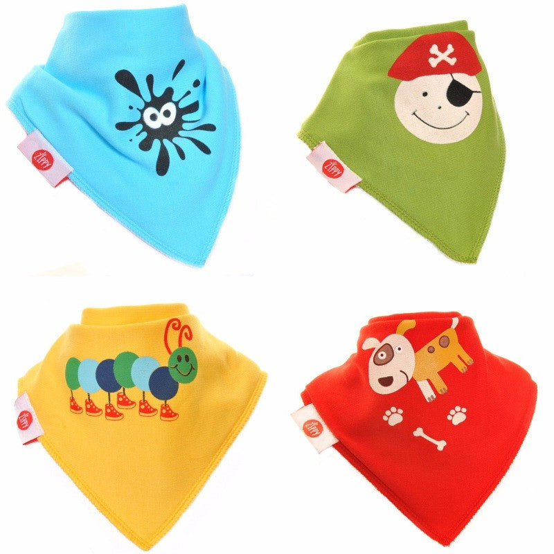 Zippy Baby Bandana Dribble Bib Fun Characters 4-Pack