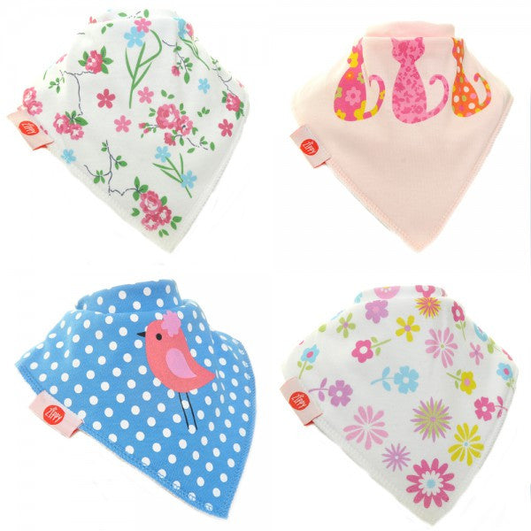 Zippy Baby Bandana Dribble Bib Girls Cool 4-Pack