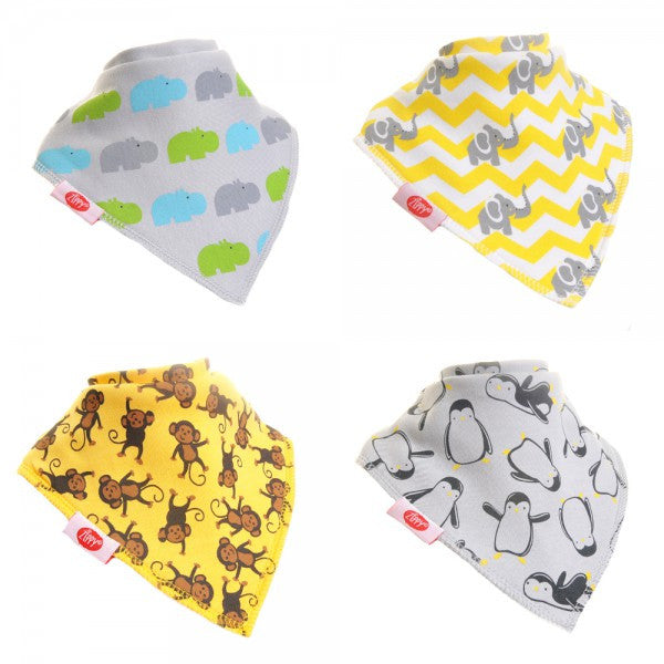 Zippy Baby Bandana Dribble Bib Animal Prints 4-Pack