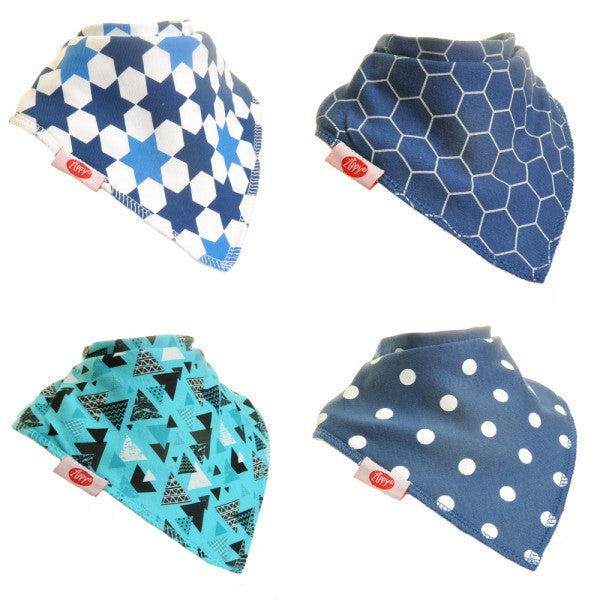 Zippy Baby Bandana Dribble Bib Just Blues 4-Pack