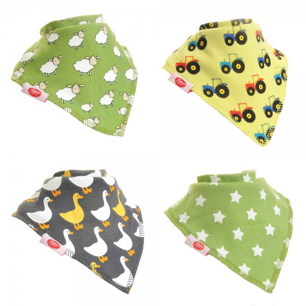 Zippy Baby Bandana Dribble Bib Farm 4-Pack