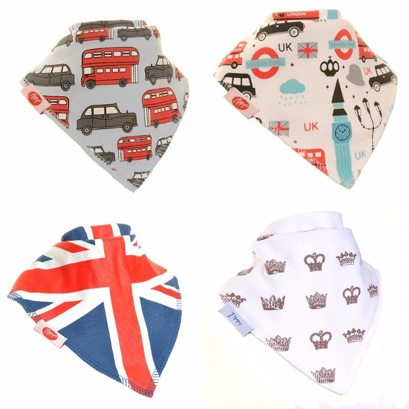 Zippy Baby Bandana Dribble Bib London 4-Pack