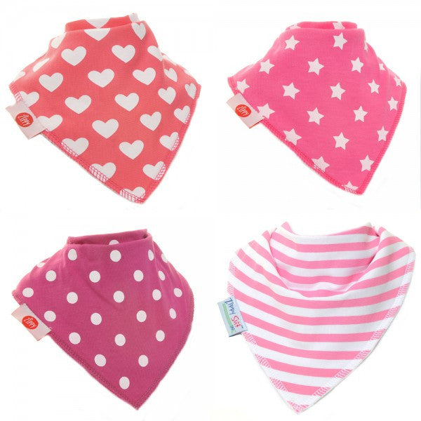 Zippy Baby Bandana Dribble Bib Patterned Pinks 4-Pack