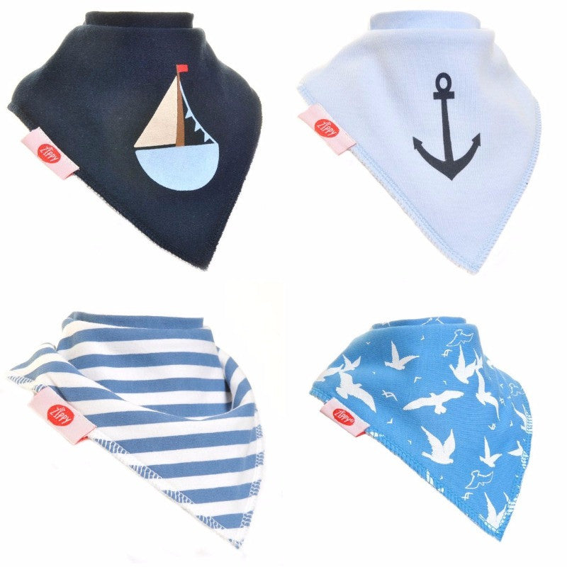 Zippy Baby Bandana Dribble Bib Nautical 4-Pack