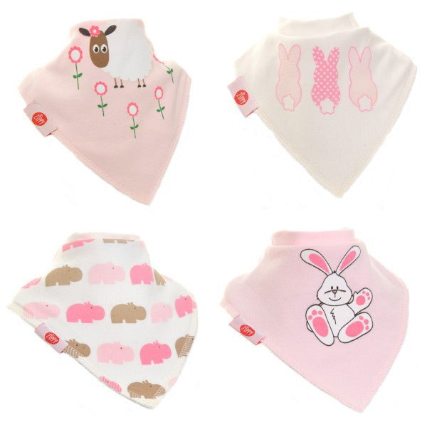 Zippy Baby Bandana Dribble Bib Cute Girls 4-Pack