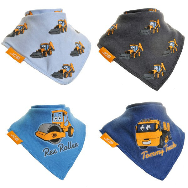 JCB Bandana Dribble Bib Blues 4-Pack