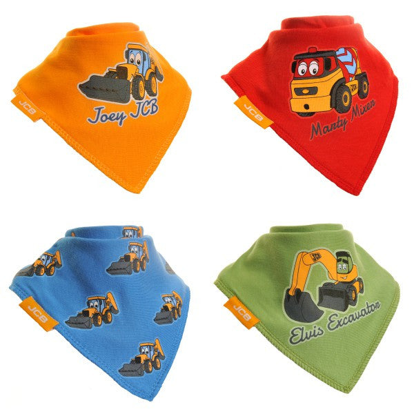 JCB Bandana Dribble Bib Colourful 4-Pack