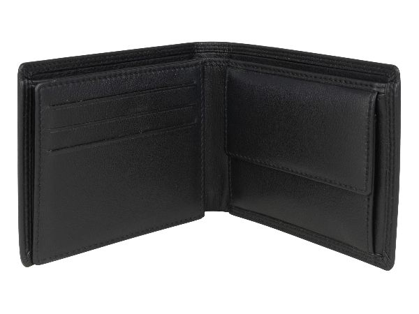 Men's Black Leather Wallet With Coin Pocket