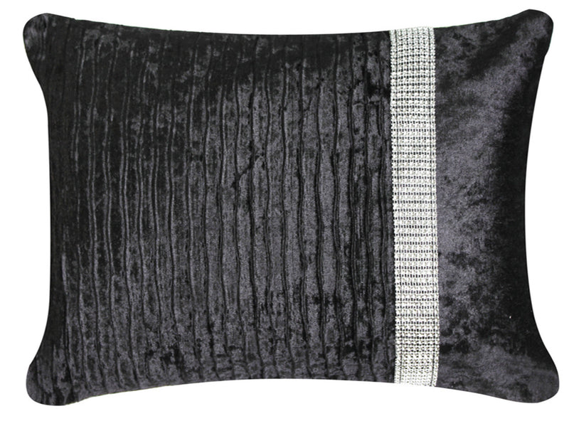 Lush Black Velvet and Diamond Striped Long Cushion