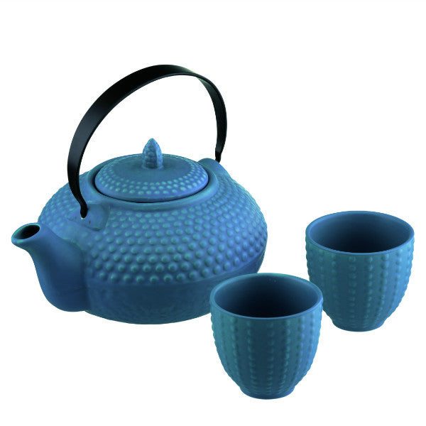 BIA Oriental Mizu Blue Hobnail Teapot and Cup Set
