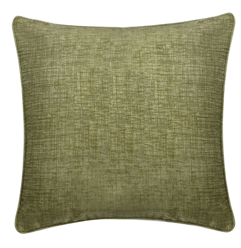 Chenille Pasture Green Square Cushions