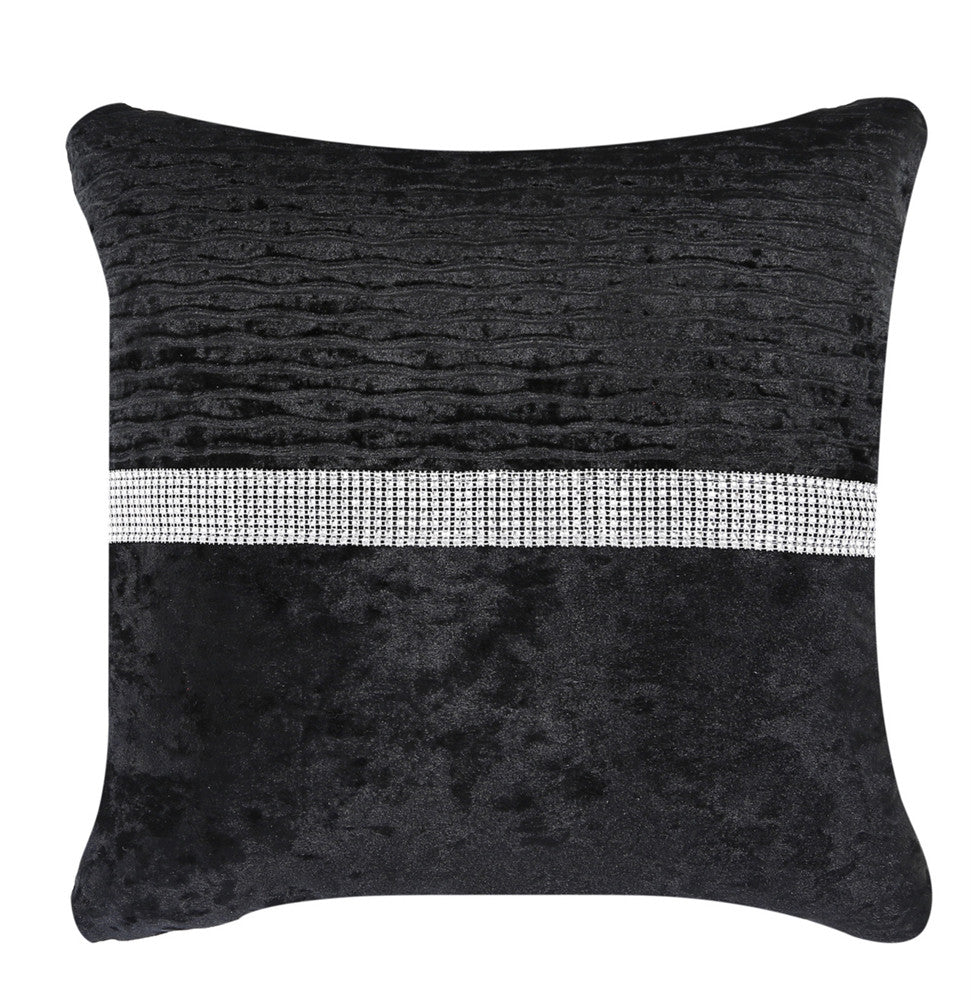Lush Black Velvet and Diamond Striped cushion