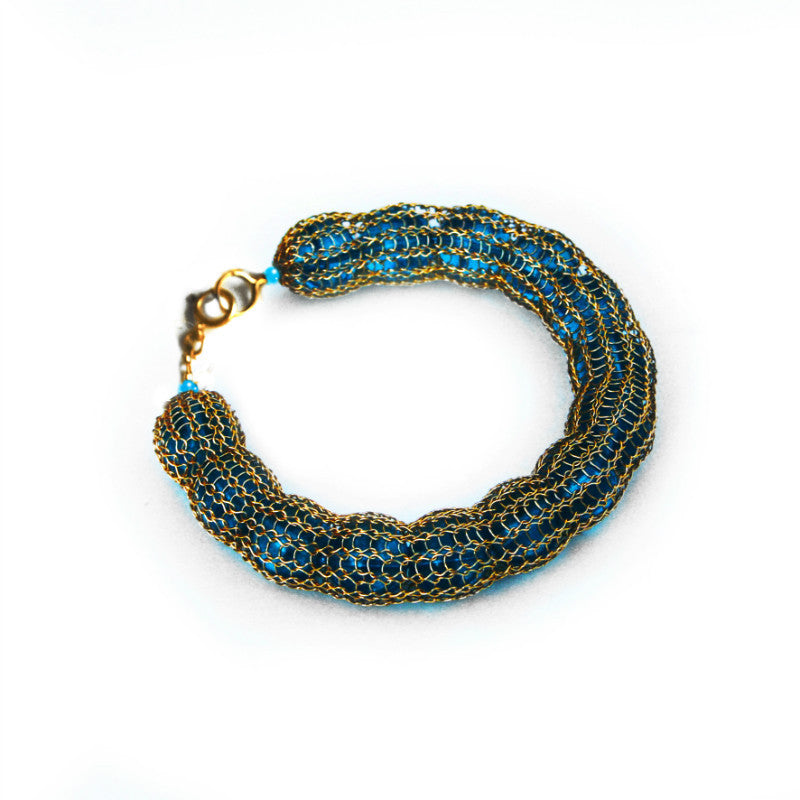 Juno James Hand Crocheted Gold Bracelet with Glass Beads