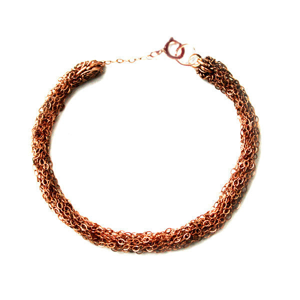Juno James Rose Gold Hand Knit Bracelet
