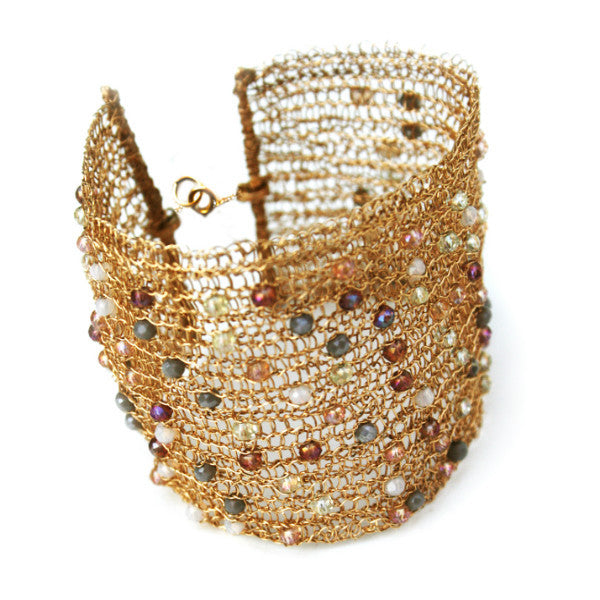 Juno James Large Gold Crocheted Bracelet with Beads