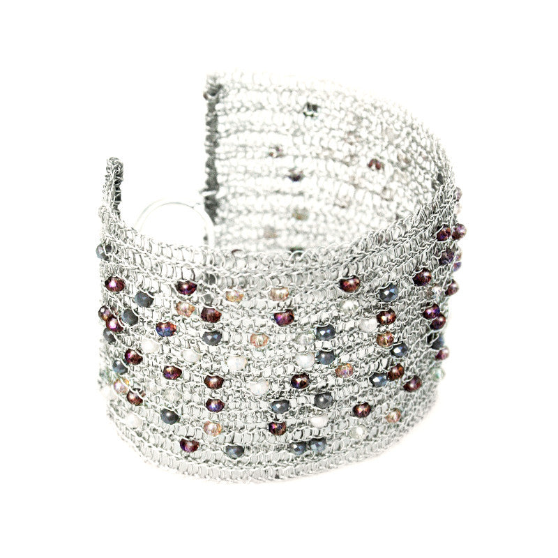 Juno James Large Sterling Silver Crocheted Bracelet with Beads