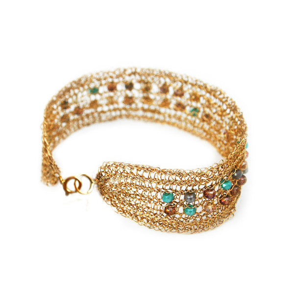 Juno James Gold-filled Hand Crocheted Bracelet with Glass Beads