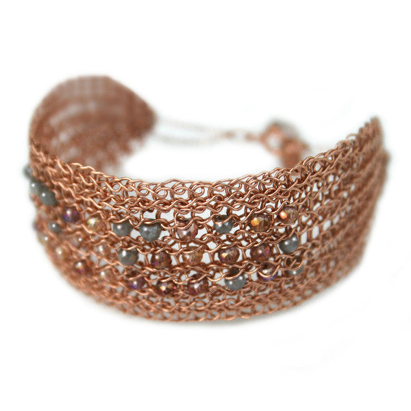 Juno James Rose Gold Hand Crocheted Bracelet with Glass Beads