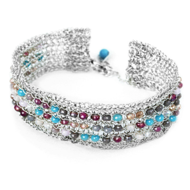 Juno James Sterling Silver Crocheted Bracelet with Glass Beads