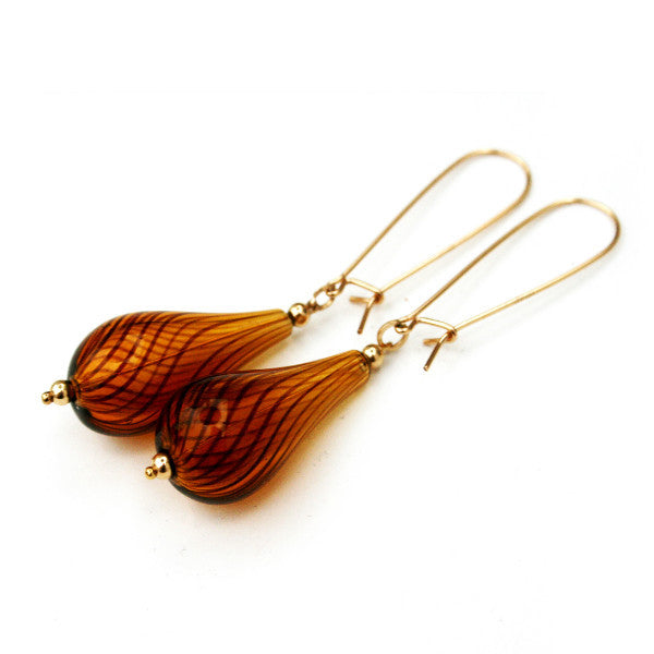 Juno James Amber Striped Glass Earrings