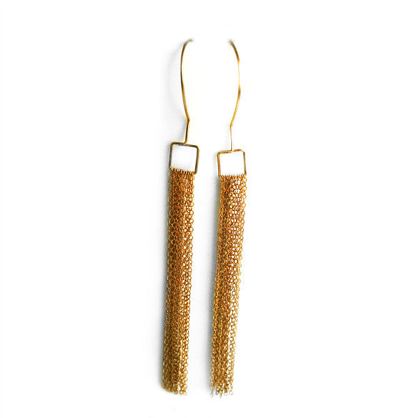 Juno James Gold Dangle Earrings with Chain Fringe