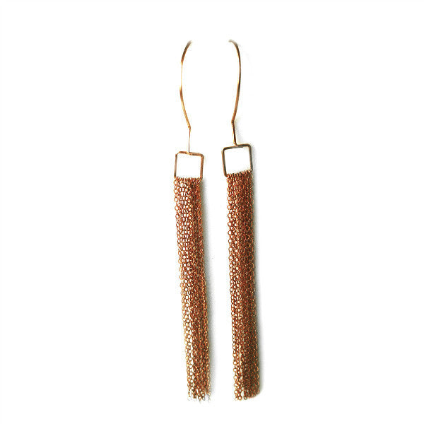 Juno James Rose Gold Dangle Earrings with Chain Fringe