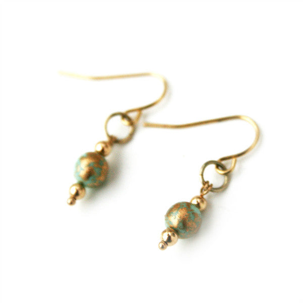 Juno James Gold & Turquoise Czech Glass Earrings