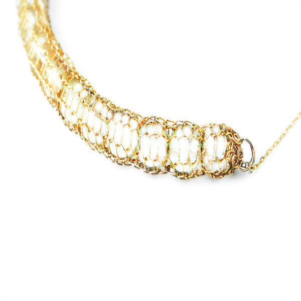 Juno James Hand Crocheted Gold Necklace with Clear Beads
