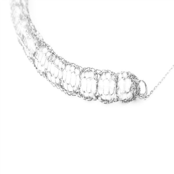 Juno James Hand Crocheted Sterling Silver Necklace with Clear Beads