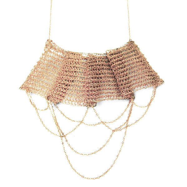 Juno James Hand Crocheted Rose Gold Fine Wire Necklace