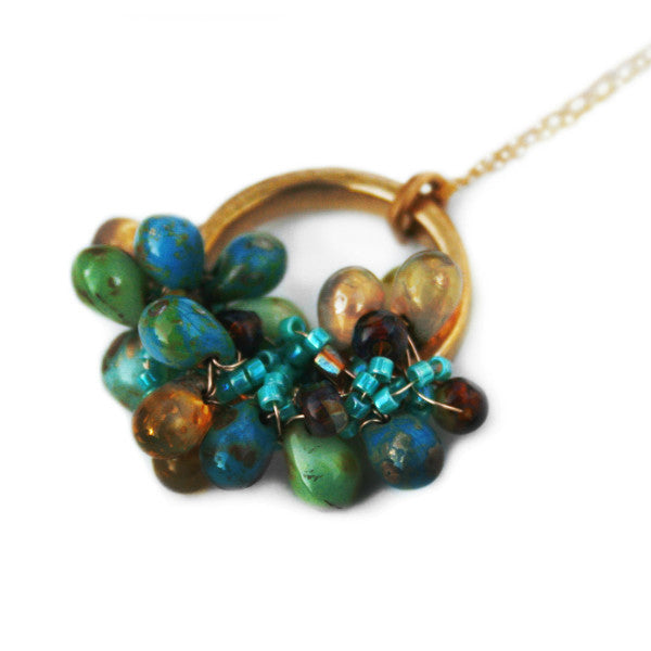 Juno James Gold Necklace with Czech Glass Beads