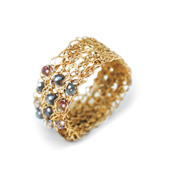 Juno James Gold Crocheted Ring with Mixed Beads