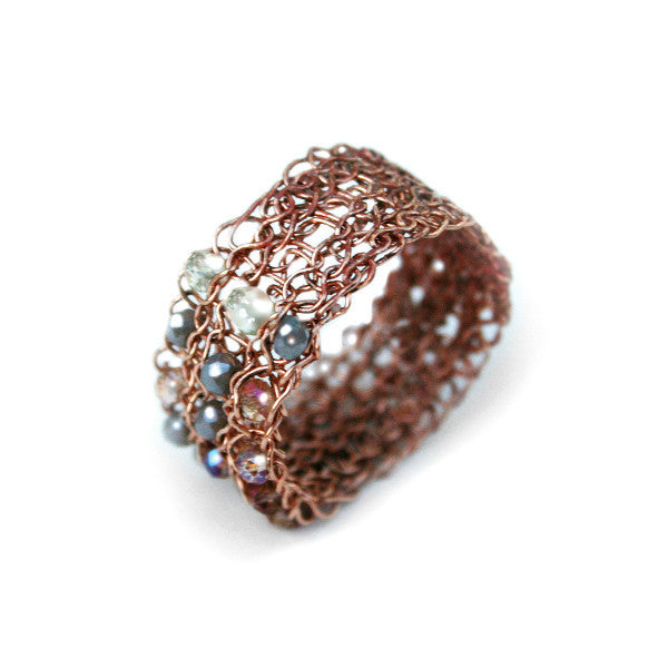 Juno James Rose Gold Crocheted Ring with Mixed Beads