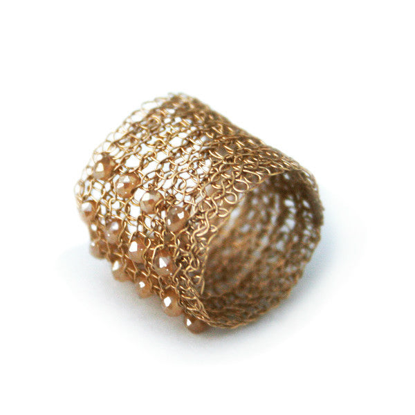 Juno James Gold Crocheted Ring with Czech Glass Beads