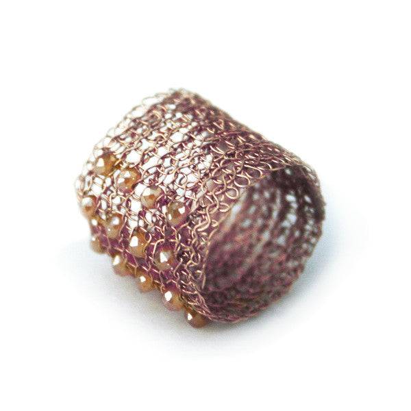 Juno James Rose Gold Crocheted Ring with Czech Glass Beads