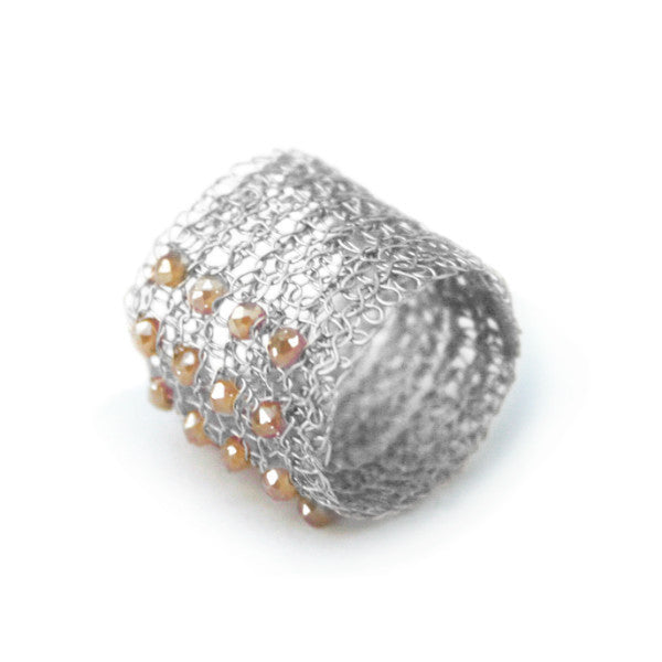 Juno James Sterling Silver Crocheted Ring with Czech Glass Beads