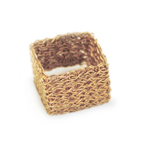 Juno James Gold Hand Crocheted Square Ring