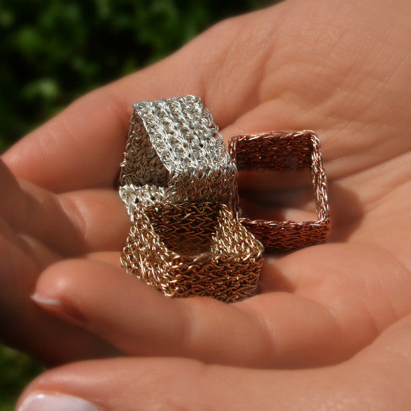 Juno James Sterling Silver Hand Crocheted Square Ring